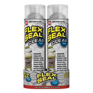 NEW 2-Pack Flex Seal Spray Rubber Sealant Coating 14-oz CLEAR WATER RESISTANT