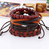 Unisex Multilayer Leather Hemp Rope Braid Red Beads Bracelet Bangle DIY Jewelry