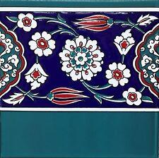 "100 Turquiose, Red & Blue 8""x8"" Turkish Iznik Floral Pattern Ceramic Tile Border"