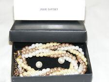 """AVON Goldtone """"JULIE"""" Faux Pearl Multi-Strand Necklace Earring Set AV4"""