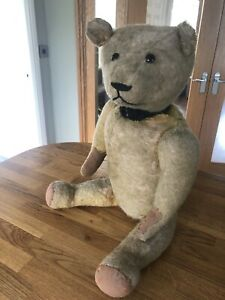 Antique/Vintage LARGE Jointed Straw Filled Teddy Bear with Growler - to Restore