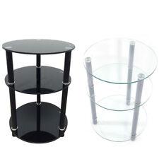 3 Tier Round Glass Side Sofa End Table Corner Stand Oragnizer Furniture 2  Colors