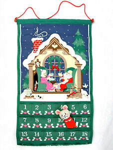Vtg 1987 Avon Christmas Countdown Advent Calendar w MOUSE Wall Hanging Holiday