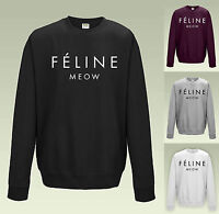 FELINE MEOW SWEATSHIRT - JH030 - JUMPER CARA SWEATER DOPE SWAG TOP MENS LADIES