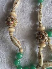 MAX NEIGER Uranium CZECH Roses flower balls EGYPTIAN REVIVAL Necklace Satoir