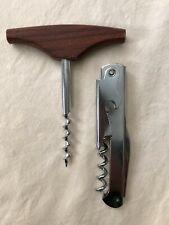 Set 2 corkscrews - Wine Key w foil cutter lever bottle opener; Wood Handle Worm