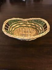Green and Tan Wicker Basket