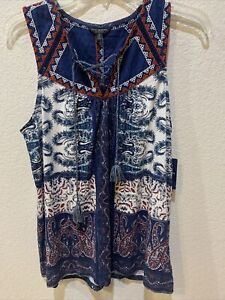 Women's Lucky Brand Sleeveless Boho Top with Hippie Ties and Embroidery S/P