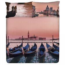Completo Copripiumino Lenzuola Matrimoniale Planet City Venezia Gondole Gabel