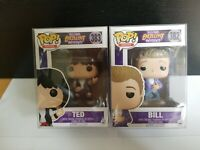 Funko Pop Bill #382 and Ted #383 Excellent Adventure Set! Rare w/ Pop Protector!