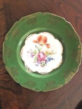 """VINTAGE CICO CHINA MADE IN GERMANY U S ZONE 10"""" PLATE FLORAL DESIGN GREEN-GOLD"""