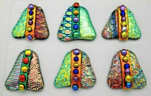 set 6 pcs DICHROIC FUSED GLASS (T19) CABOCHON for WIRE WRAPPING, PENDANTS