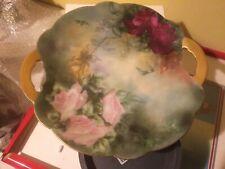 Antique Porcelain Hand Painted Limoges France Large Roses Cake Plate Gold Handle