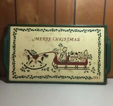 Antique Primitive Folk Art Wooden Painted Christmas Serving Tray