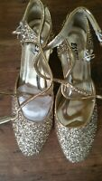 ESSEX GLAM Gold Sequin Block Heel Ankle Strap Party Shoes UK 4 LOT S11