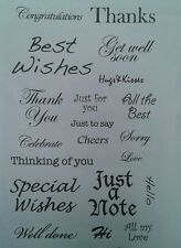 Unmounted rubber stamps Special Wishes Thanks - REDUCED