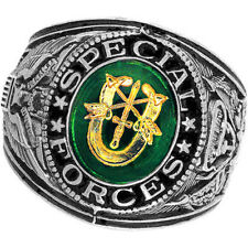 Official US Special Forces Deluxe Engraved Silver Color Ring -Size 10