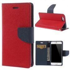 2x Pellicola+ Custodia bicolore supporto portafogli per iPhone 6 4.7 Rossa e Blu