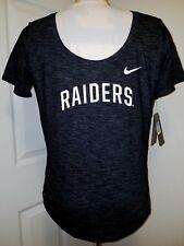 #1177 X-Small Women Raiders Nike Tee Dri-Fit Heathered Black Scoop Neck NWT