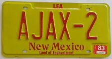 New Mexico 1983 VANITY License Plate AJAX-2