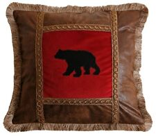 Applique Bear on Red Pillow - Rustic - Cabin - Lodge - Brush Fringe - Free Ship