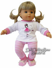 """Ballerina Pajamas & Slippers for 15"""" Bitty Baby Doll Clothes Sew Beautiful"""