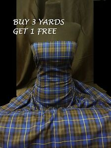 Genuine Royal Blue Grey Plaid Tartan Woven Poly-Viscose Dress Fabric Material