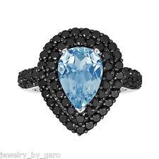 PEAR SHAPE BLUE TOPAZ AND ENHANCED BLACK DIAMONDS COCKTAIL RING 14K WHITE GOLD