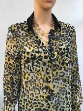M&S blouse yellow,ivory & black animal print 6UK in very good condition