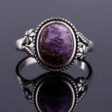 Vintage 925 Silver Oval Purple Charoite Bead Simple Design Flower Ring Wholesale