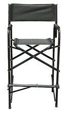 Tall Directors Chair Aluminum Folding Chair Black Outdoor Indoor Single Chair