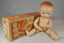 "VINTAGE 1950s BOXED 6"" PEDIGREE DELITE HARD PLASTIC STRAIGHT LEG BABY DOLL"