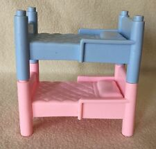 Playskool Vintage Dollhouse Furniture Bed Twin Bunk Beds Pink Blue
