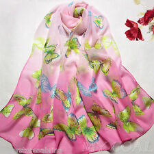 D PINK BUTTERFLY - Flower Silk Chiffon Neck Scarf Wrap Shawl Stole Wrap Women