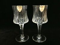 """Pair ROYAL DOULTON Crystal SONNET Pattern Claret Wine Glass Goblets, 6-1/4"""" High"""