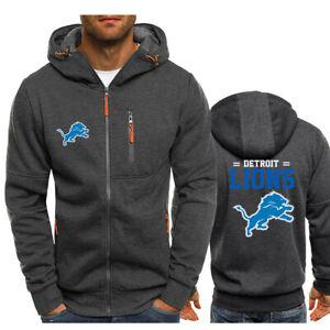Detroit Lions Fan Hoodie Football Hooded Sweatshirt Fleece Coat Full-Zip Jacket