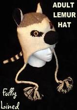 deLux LEMUR HAT Knit animal cat mens womens ski cap Costume ADULT fleece LINED