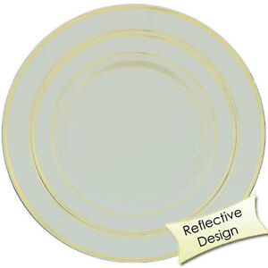 40 Plastic Party Plates Disposable Dinner Wedding Dishes China Design- FREE SHIP