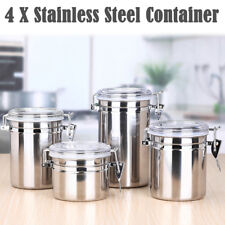 4 x Stainless Steel Sealed Canister Jar Coffee Sugar Tea Food Storage Container/