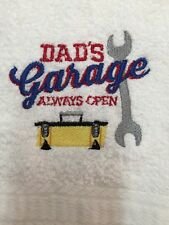 Embroidered White Kitchen Bar Hand Towel   Dad's Garage Always Open