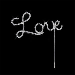 1 Silver Diamante Love Wedding Baby Shower Cake Topper Crystals Engagement DIY