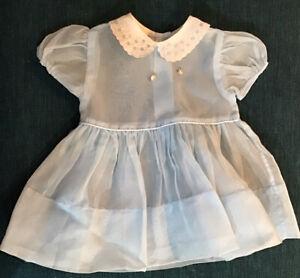 Vintage Baby Girls Blue Sheer Flocked Dress