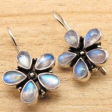 Natural RAINBOW MOONSTONE Gems FLOWER STYLE Lovely Earrings 925 Silver Plated