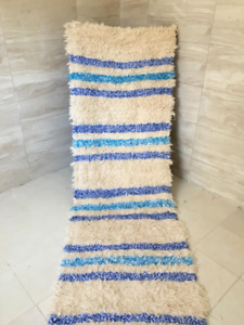 Woven rug, soft rug, Cotton fabric, Rugs runner, blue stripes, Moroccan area rug