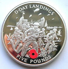 Gibraltar 2004 D-Day Landings 5 Pounds Silver Coin,Proof
