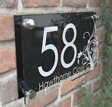 House Door Number Plaque Wall Gate Sign Name Plate Clear Acrylic Dec4-27WB