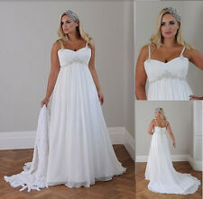 White/ivory Chiffon Empire Bridal Gown Spaghetti strap Wedding Dresses Plus size