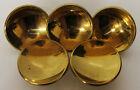 5 x AMEROCK Brass Concave Round CABINET/DRAWER Pulls/Knobs Mid Century Modern