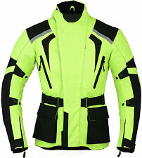 Green Hivis Motorbike Motorcycle Jacket Waterproof with Armours