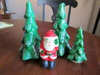 Lot 4 Vintage Gurley Novelty Co Candles 3 Trees & a Santa Claus